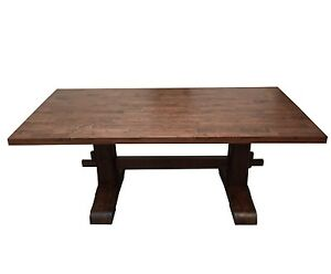 Red Mahogany Trestle Farmhouse Table (Rustic Harvest Farmhouse Kitchen Dinning T