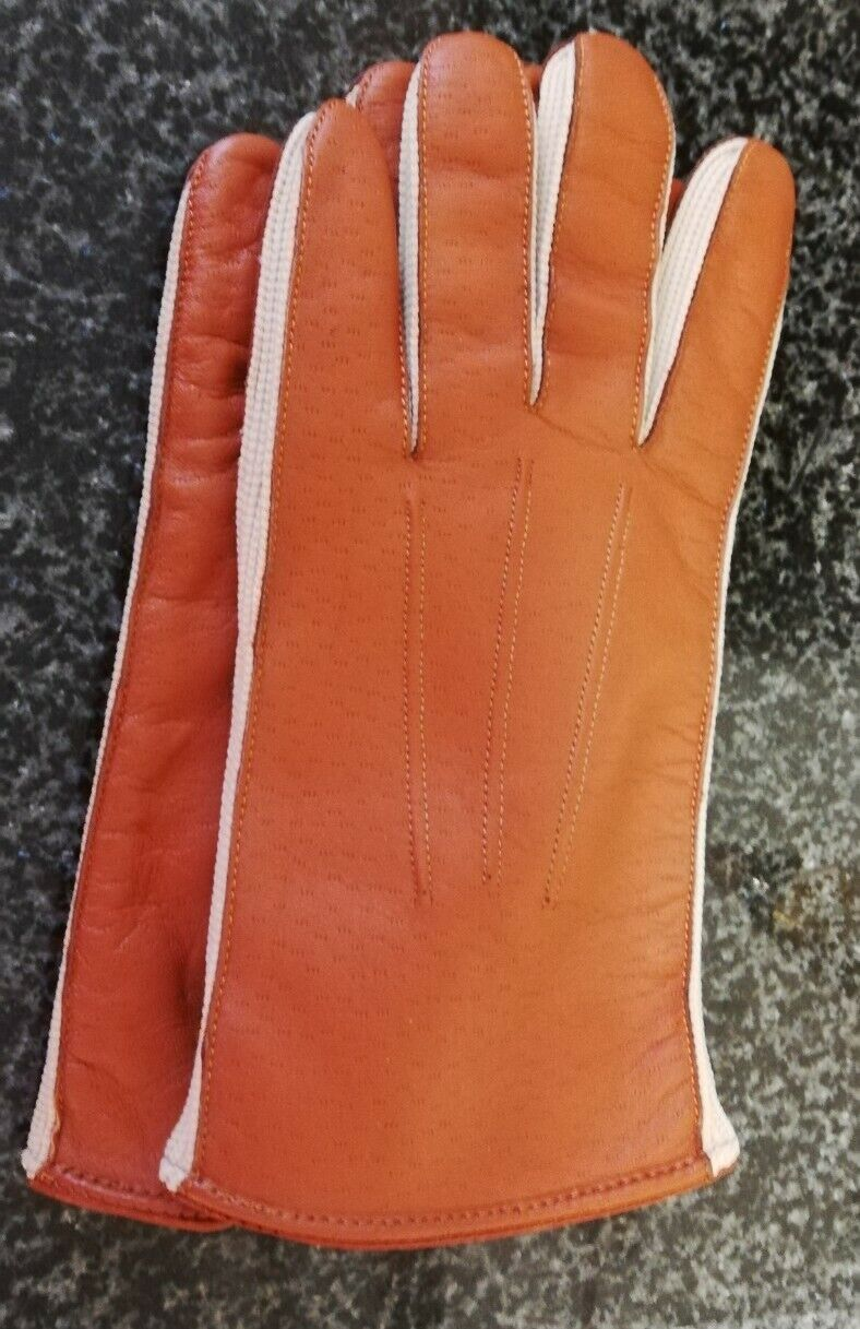 Men's Tan Faux Leather Gloves Lined Size Large Driving Working Office