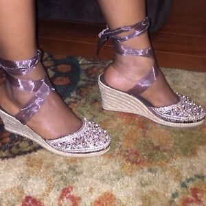 STEVE-MADDEN-BEAD-WOMEN-039-S-BROWN-SHOES-RIBBON-TIE-RIBBONS-WEDGE-TAN-SIZE-8-5-M
