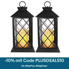 2er Set LED Laterne Kerze flackernd Außen Leuchte Deko Windlicht Gartenlampe