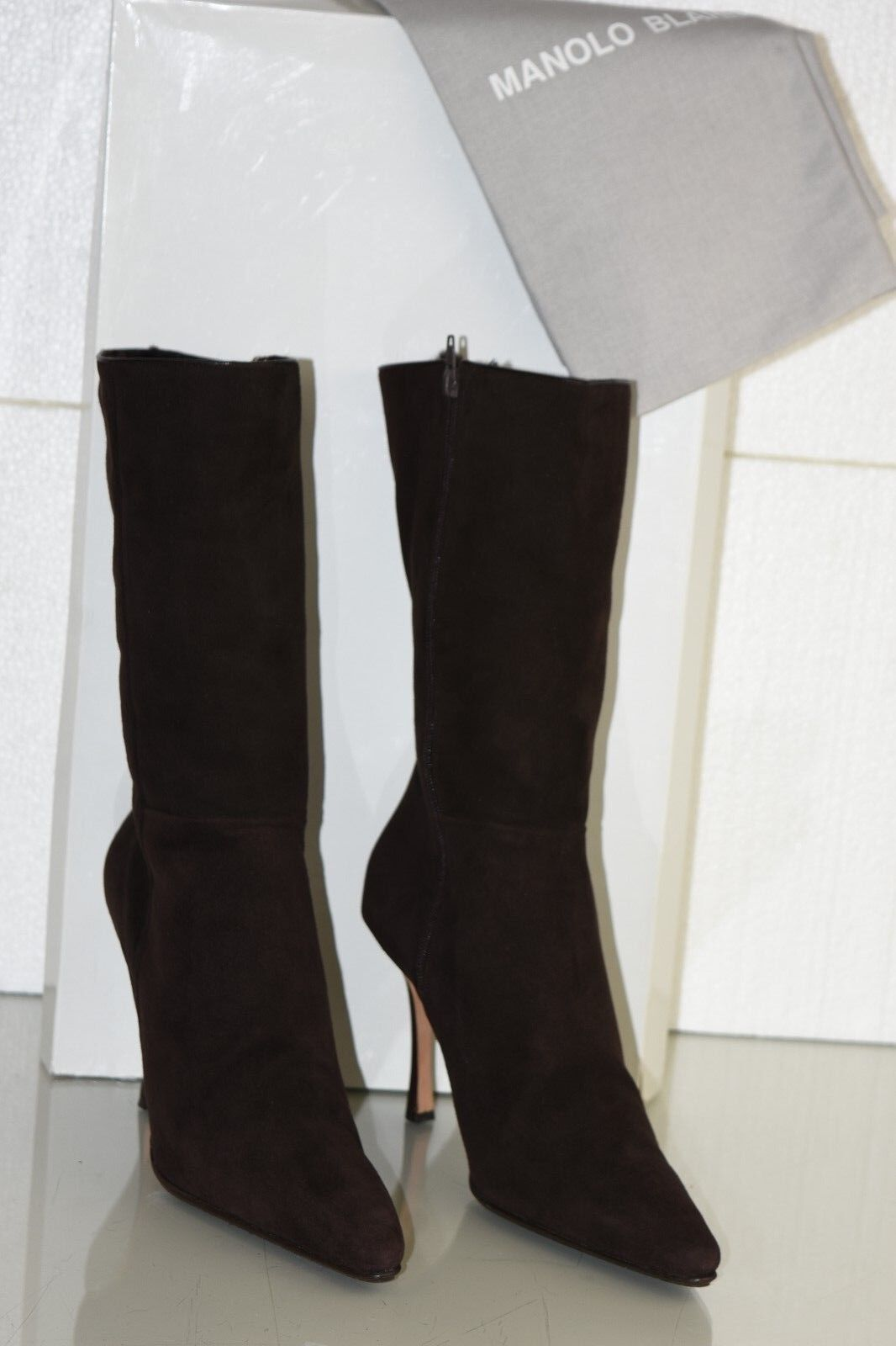 1595 NEW MANOLO BLAHNIK BROWN SUEDE Shearling FUR GATI BOOTS SHOES 39.5 9