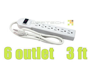 new 6 outlet power strip bar surge protector protect electronics rh ebay com