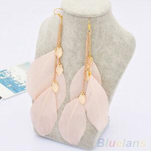 AS-Women-039-s-Leaf-Feather-Handmade-Long-Drop-Dangle-Hook-Eardrop-Earrings-Stylish