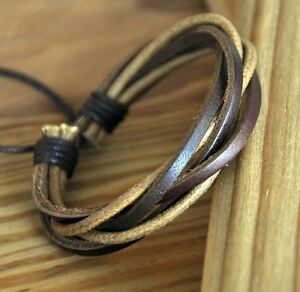 Surfer-Multi-Band-Leather-Hemp-Braided-Bracelet-Wristband-Bangle-Unisex-S4