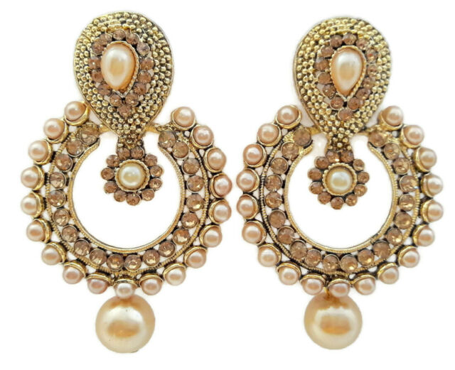 fbbffbaeafa4d OFF WHITE PEARL LCT CZ GOLD TONE DANGLE EARRINGS INDIAN BOLLYWOOD WOMEN  JEWELRY