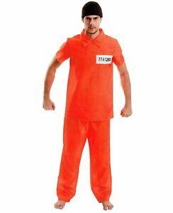 US-Straefling-Herren-Karneval-Kostuem-Gefangener-Haeftling-Fasching-orange