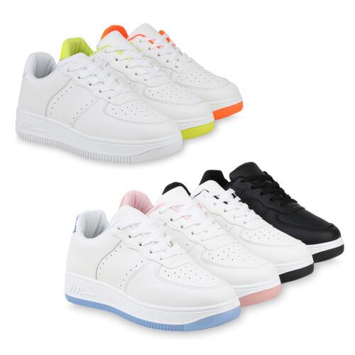 Damen Plateau Sneaker Freizeitschuhe Schnürer Wedges Turnschuhe 832714 Schuhe