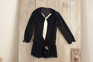 Shirt-or-Tunic-Child-039-s-Antique-Black-Velvet-w-White-Tie-bakelite-belt-Edwardian
