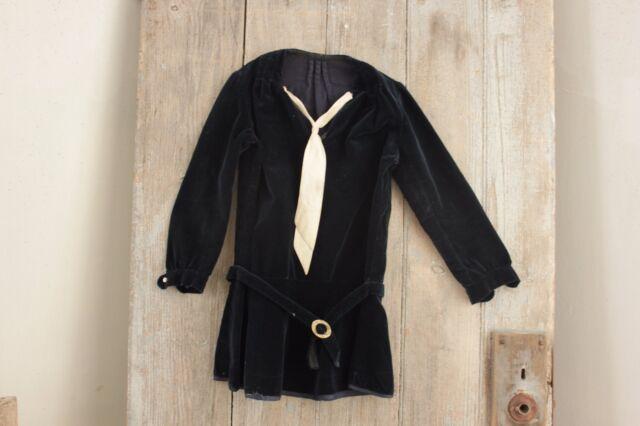 Antique velvet French Edwardian baby clothes shirt child's clothing bakelite