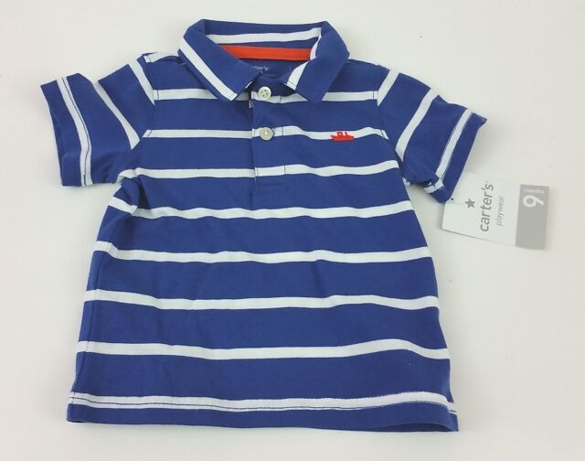 aa4b18b970bb Carters Boy s Polo Shirt 9 Months Blue White Striped 100 Cotton for ...