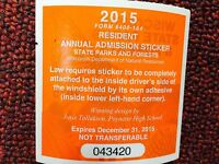 Wisconsin State Parks & Forests 2015 Resident Annual Admission Sticker
