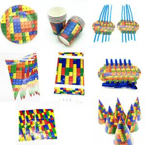 Lego-Building-Blocks-Fete-D-039-anniversaire-Fournitures-Vaisselle-Assiettes-ballon-Decoration
