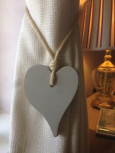 Pair-Of-Handmade-Offset-Heart-Curtain-Tie-Backs-Light-Grey-With-Jute-Rope-Tie