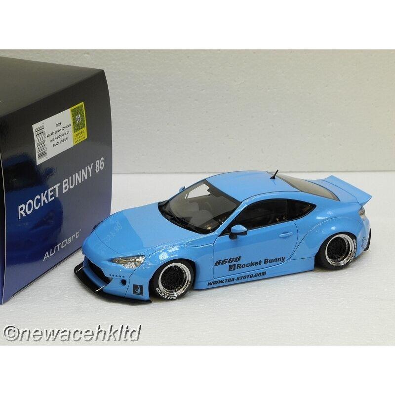 Rocket Bunny Toyota 86 cielo blu nero metálico ruedas Autoart Model 1 18