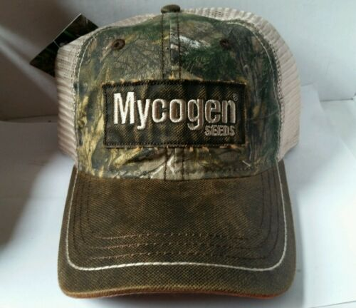 Mycogen SEED BROWN realtree camo Washed Cotton Mesh Logo CAP HAT BRAND NEW