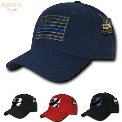 Thin Blue Red Line USA American Flag Tactical Operator Baseball Caps Hats