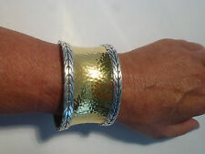 HUGE John Hardy Palu Cuff Bracelet Sterling with Hammered 22k Gold  Fabulous!