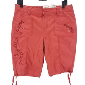 St-Johns-Bay-Womens-Bermuda-Shorts-Coral-Floral-Embroidered-Pockets-Stretch-10