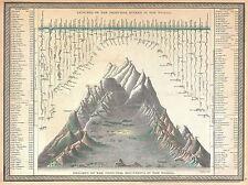 Mappa GEOGRAFICA ILLUSTRATA VECCHIO grosso fiume Mountain altezza lunghezza stampa bb4428a