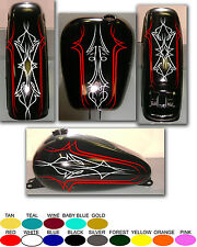 MOTORCYCLE GAS TANK AND FENDER DELUXE PINSTRIPE DECAL SET