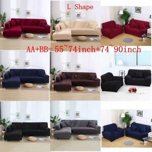 All-Cover L Shape (2+3 seat) Stretch Elastic Fabric Sofa Cover Couch ...