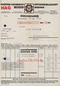 bremen rechnung 1933 hag kaffee handels ag ebay. Black Bedroom Furniture Sets. Home Design Ideas