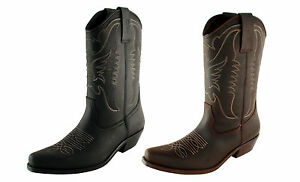 Men-039-s-Cowboy-Boots-Western-Leather-US-Size-6-7-8-9-10-11-12-13-MADE-IN-SPAIN