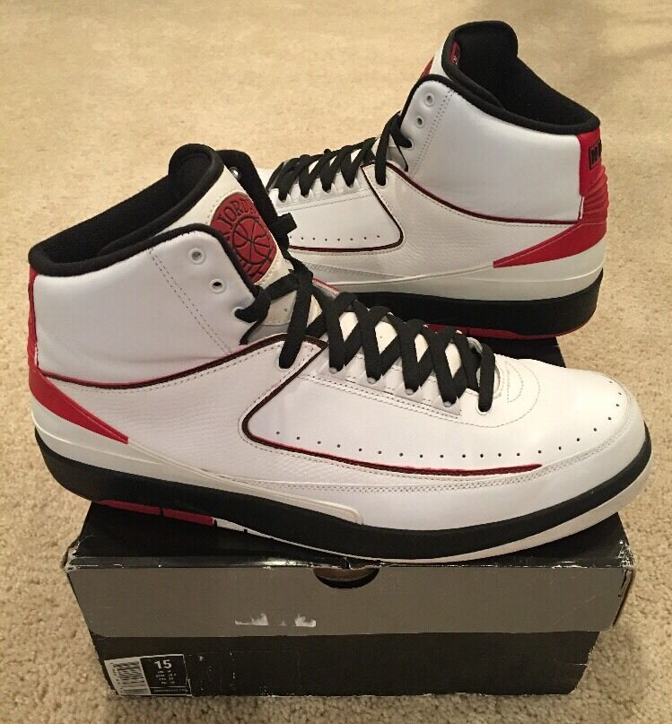 Nike Air Jordan Retro 2 II QF Chicago Size 15 White Black Varsity Red