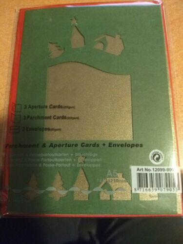 3X APERTURE CARDS CHRISTMAS INCL ENVELOPES 15X12 CM BUY MORE /& GET DISCOUNT NEW