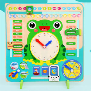 Educational-Wooden-Calendar-Toys-Clock-Date-Weather-Board-For-Kids-Learning-AU
