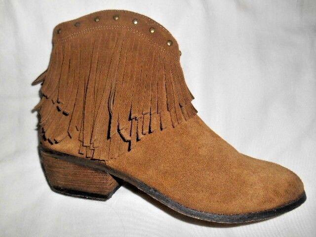 Minnetonka Women's Brown Fringed Bandera Fashion Boots Side Zip sz.7 M EUC