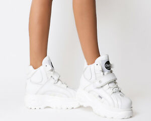 Details about Womens Buffalo Buffalo Classic High Sneakers White Trainers Shoes