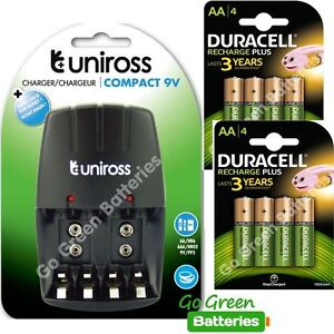 Uniross-COMPACT-AA-AAA-Chargeur-8x-Duracell-AA-1300-mAh-rechargeables-piles