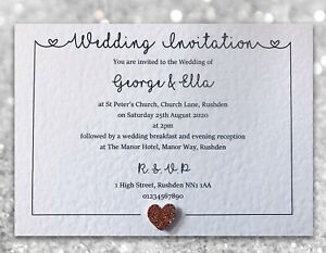 10-Wedding-Invitations-Evening-Invites-Personalised-amp-Handmade-with-Envelopes