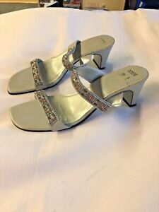 Marks-and-Spencer-sandals-grey-silver-heeled-Slip-On-sandals-size-5-RRP-28