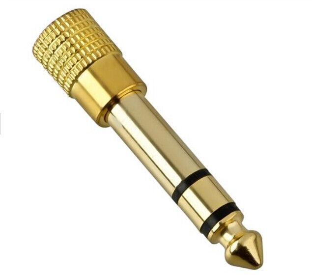 2 x 3.5mm to 6.35mm gold headphone jack plug audio adaptors