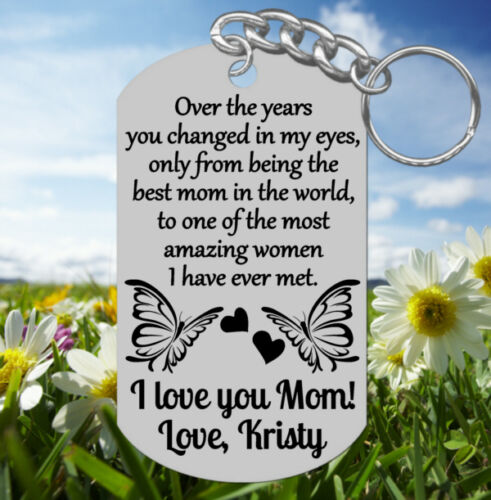Engraved Keychain Gift for Mom Personalized FREE Best Mom ~ Amazing Woman