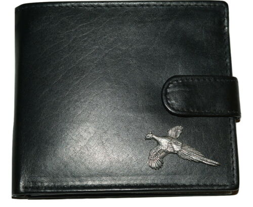 Pheasant Leather Wallet Gift Box Option Pewter Country Bird men/'s Accessory