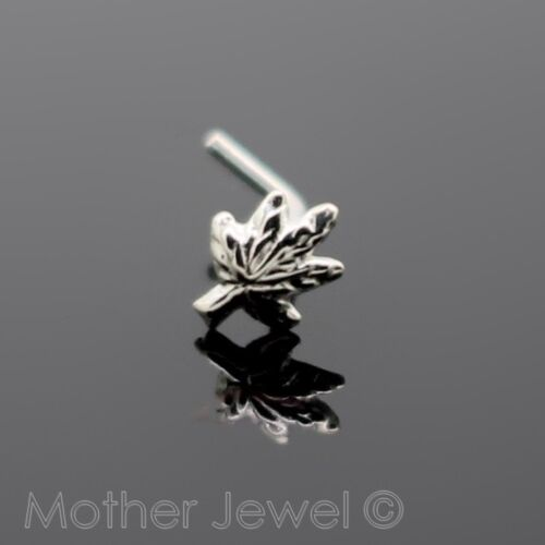 GENUINE SOLID 925 STERLING SILVER MARIJUANA LEAF NOSE STUD L SHAPED BENT BONE