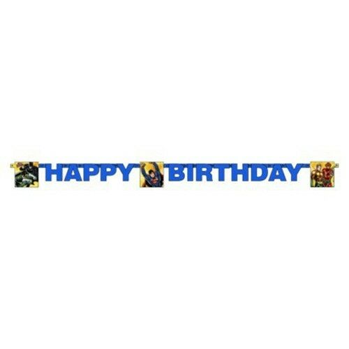 JUSTICE LEAGUE HAPPY BIRTHDAY BANNER ~ Party Supplies Decorations DC Comics