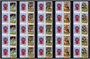 HAWTHORN-SET-OF-5-150th-FOOTBALL-STRIPS-OF-10-MINT-VIGNETTE-STAMPS
