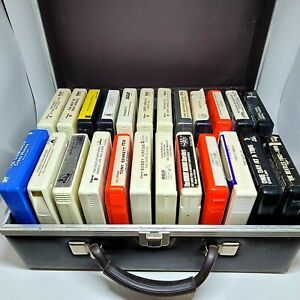 Lot of 24 Vintage 8-track Cassettes With Hard Case, The Beatles, etc...