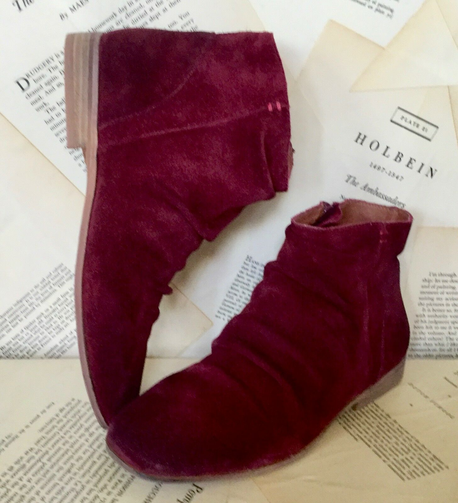 NEW Free People Jeffrey Campbell wine Booties Suede GatheROT Ankle Zipper Booties wine 6 9954ce