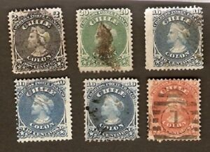Chile-LOT-Sc16-17-18x3-19-used-17-MINT-HR-COLUMBUS-FVF