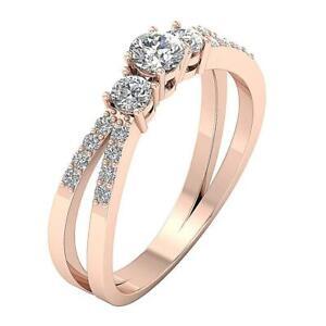 0e7462753bf 3 Stone Split Shank Engagement Ring Round Diamond SI1 G 0.75 Ct Rose ...