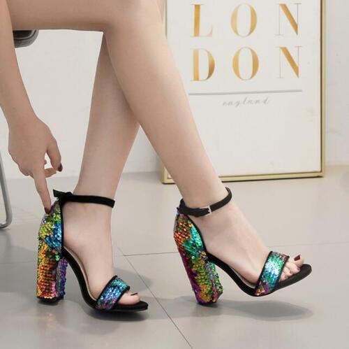 Modisch Damen Blockabsatz Pumps Schuhe Sandalen Paillette Fesinelriemen Rund