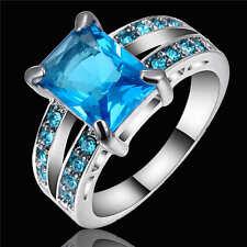 Classic Square Blue Aquamarine Wedding Ring 18K white Gold Filled Band Size 7