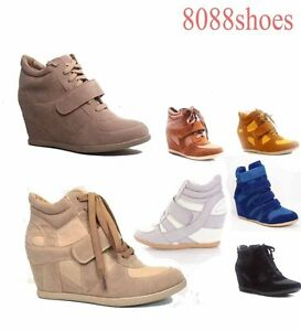 Women-039-s-Fashion-Lace-Up-High-Top-Ankle-Wedge-Heels-Sneaker-Boots-Shoes