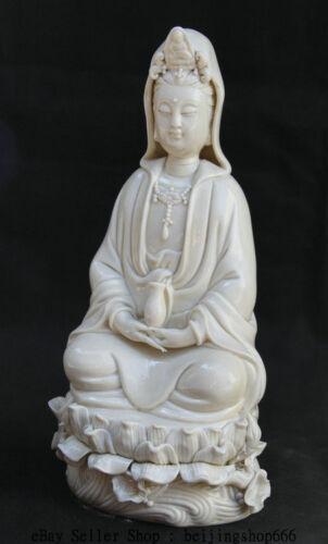 10 inch Chinese Dehua White Porcelain Guan Yin Kwan-yin Vase Goddess Statue