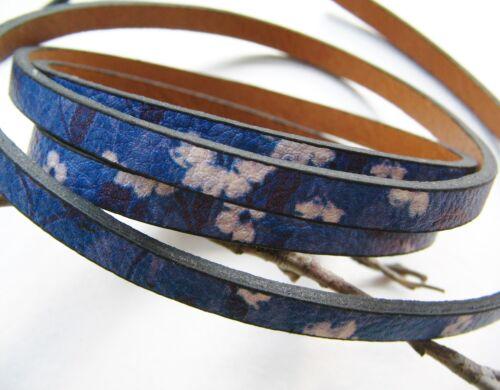 Colgante 100cm impreso con flores 2x5mm azul serajosy
